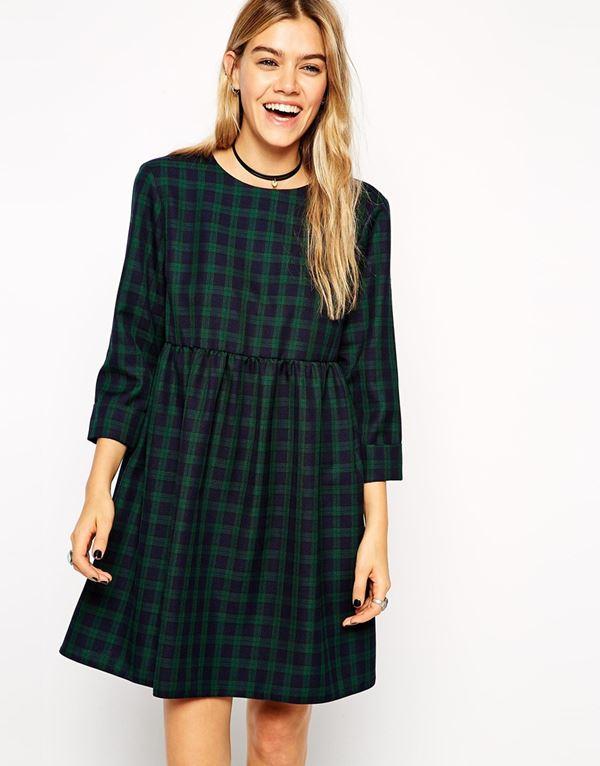 зеленое платье в клетку с завышенной талией 2015