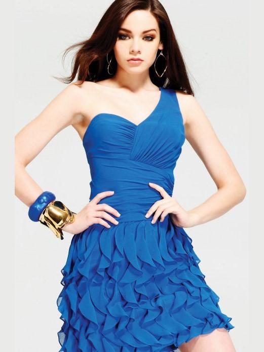 короткое коктейльное синее платье на выпускной 2015
