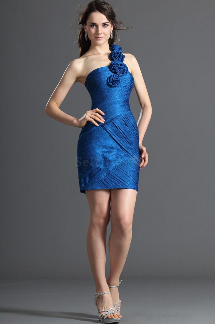 синее коктейльное платье на выпускной с розами 2015