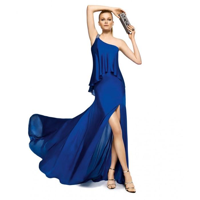 синее длинное платье с разрезом на выпускной 2015