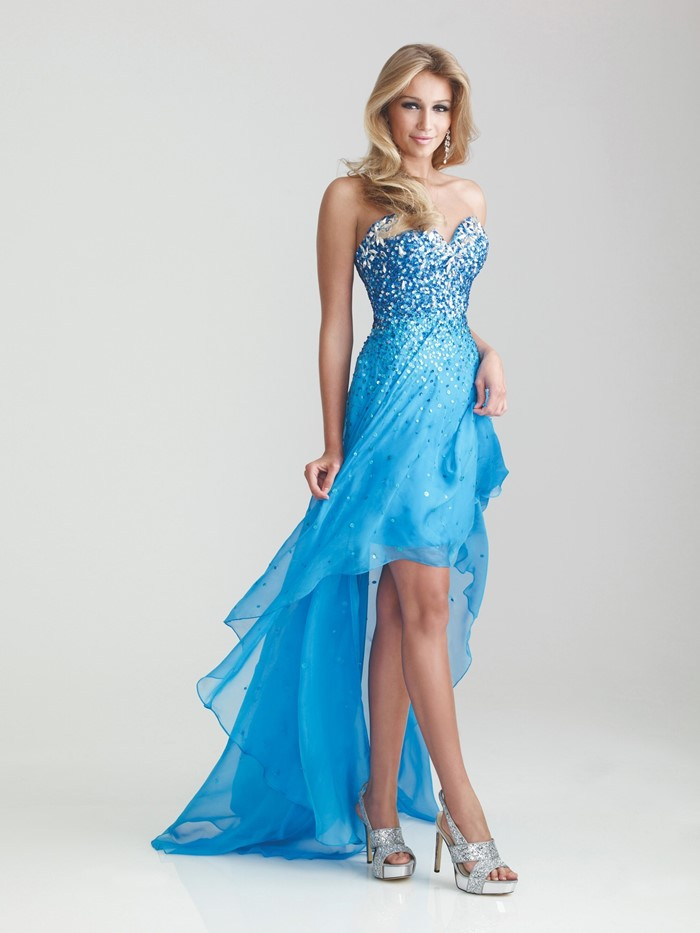 голубое платье с кристаллами хай-лоу бюстье для выпускного 2015