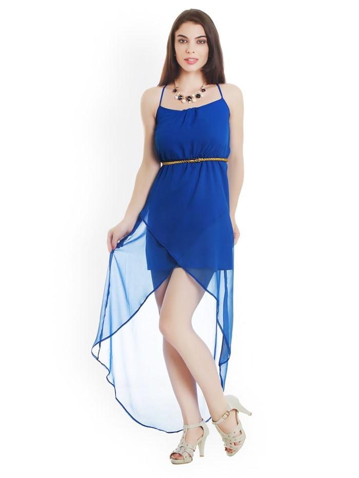 синее платье хай-лоу на тонких бретелях на выпускной 2015