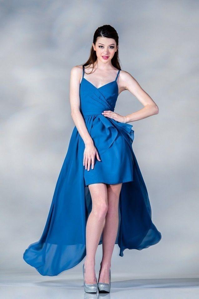 синее платье на выпускной 2015 - хай-лоу с баской