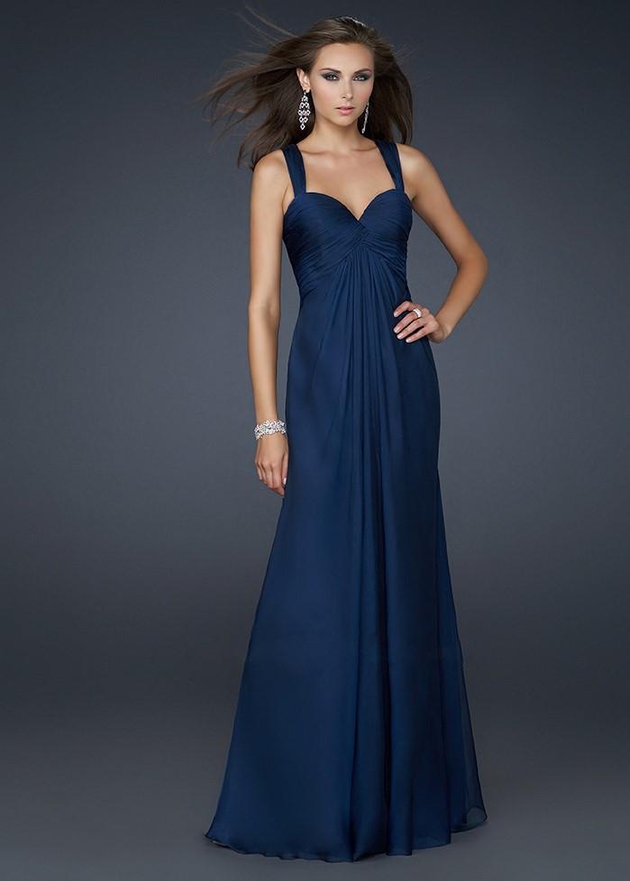 темно-синее длинное платье на выпускной 2015 - классическое вечернее