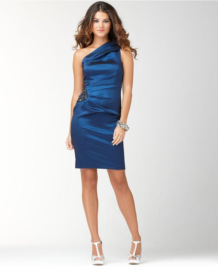 короткие коктейльное темно-синее платье на выпускной с одним плечом 2015