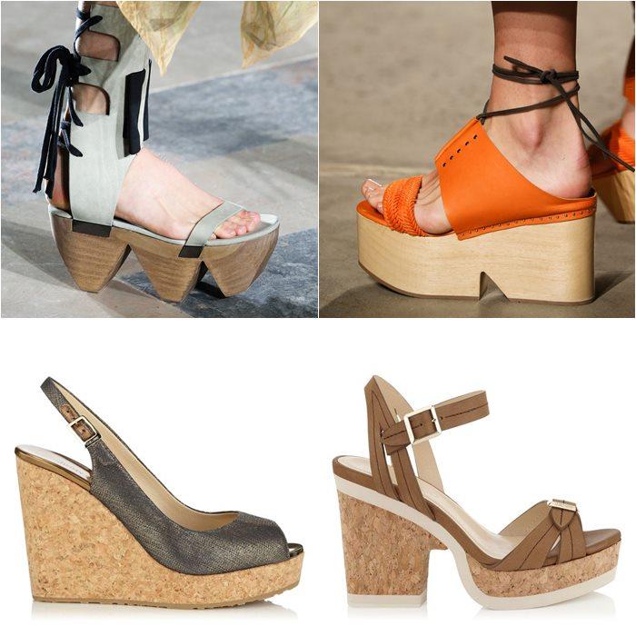 туфли на деревяной и пробковой платформе и каблуке весна лето 2015