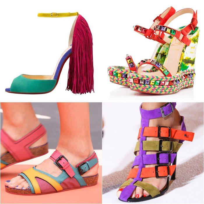 яркие разноцветные туфли весна лето 2015