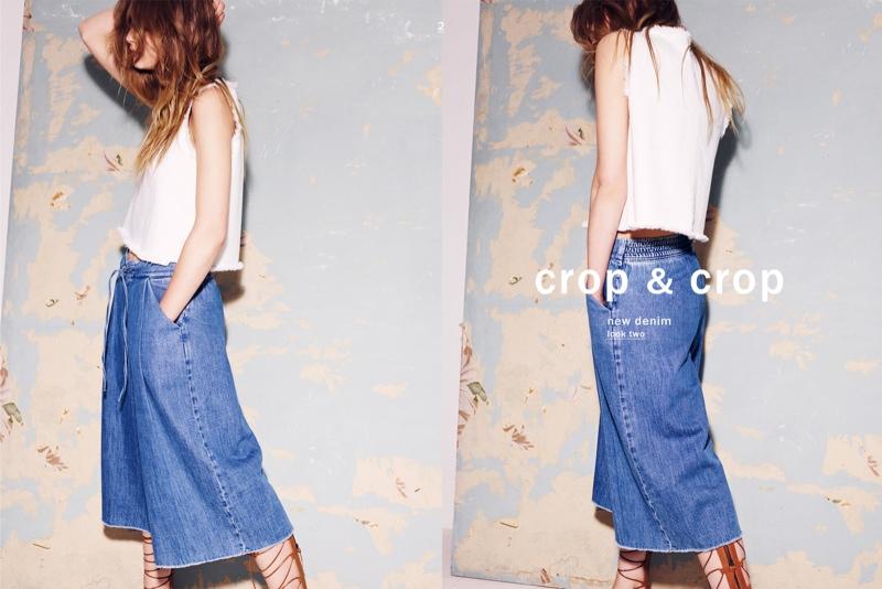 Деним 2015 в лукбуке Zara: джинсовые платья, юбки, рубашки | BONAMODA
