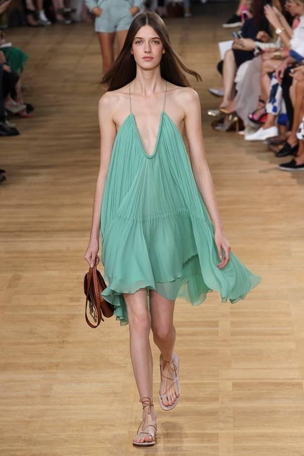зеленое платье весна-лето 2015 Chloé