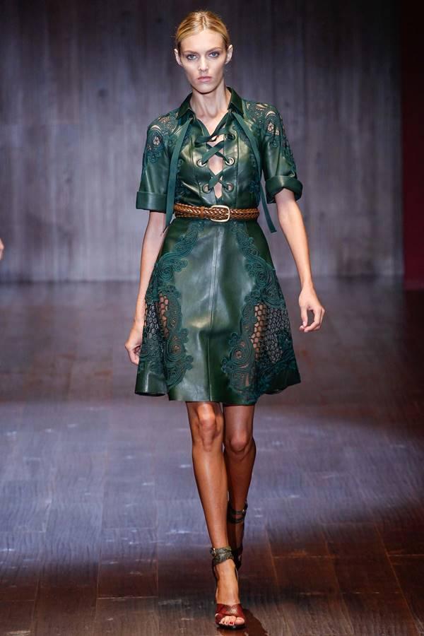 зеленое платье весна-лето 2015 Gucci