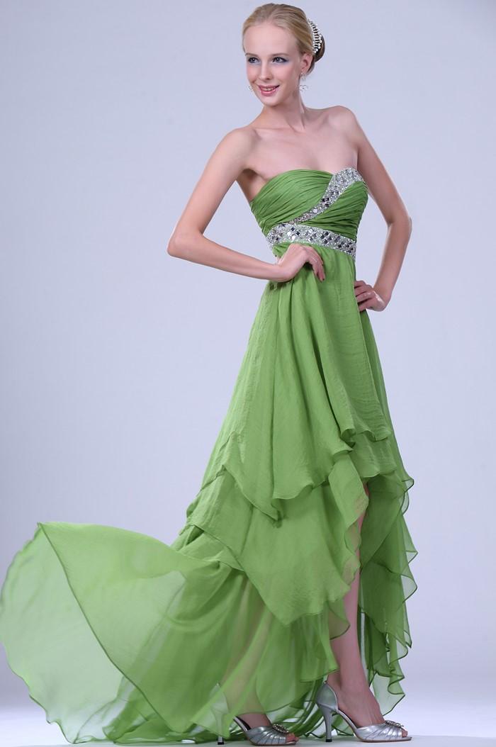 длинное зеленое платье хай лоу  на выпускной 2015