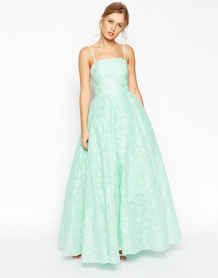 мятное длинное платье на выпускной 2015