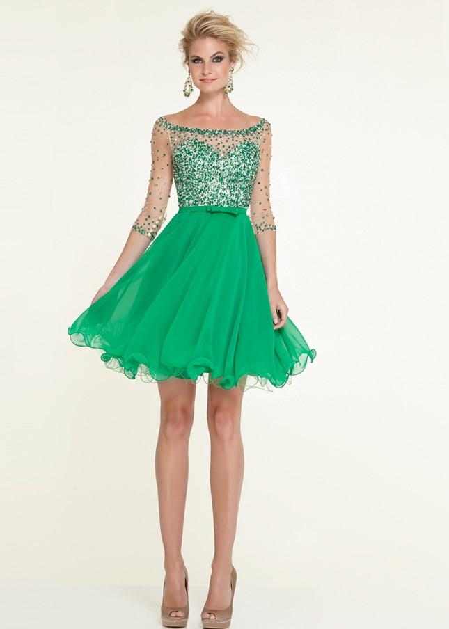 короткие зеленое платье с пышной юбкой на выпускной 2015
