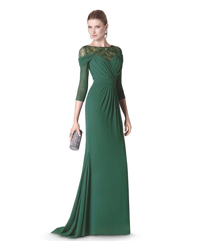облегающее длинное зеленое платье на выпускной 2015