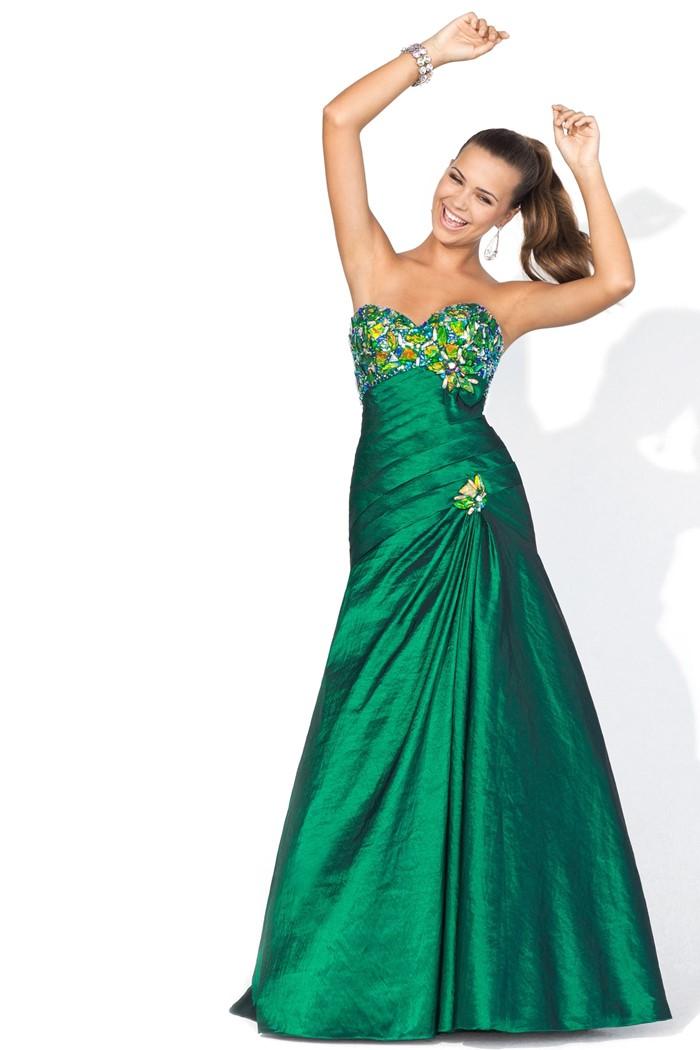 зеленое платье бюстье на выпускной 2015