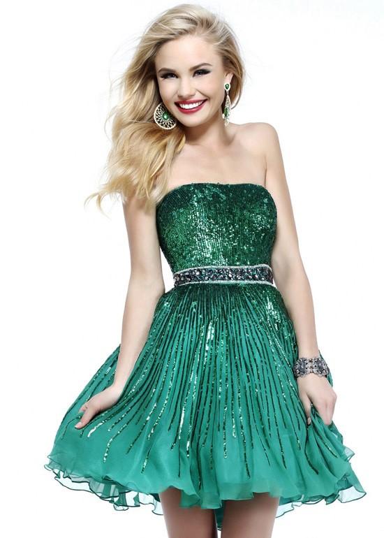 короткое зеленое платье бюстье на выпускной 2015