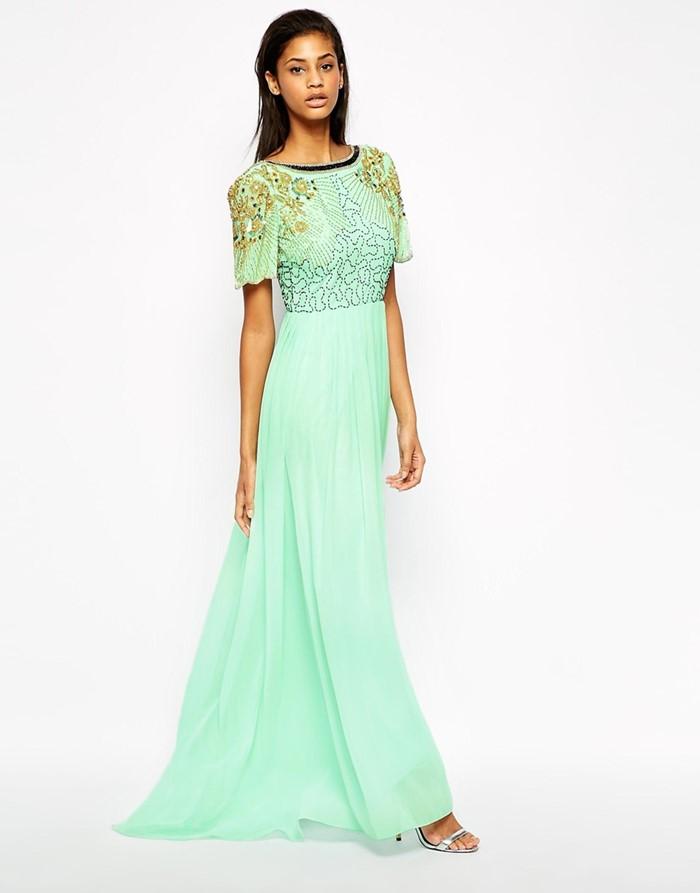 акварельное длинное мятно-зеленое платье на выпускной 2015