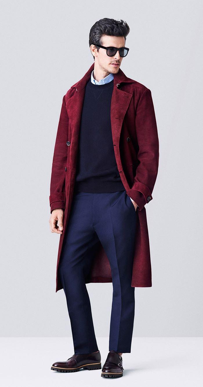 Bally замшевое бордовое мужское пальто весна-лето 2015
