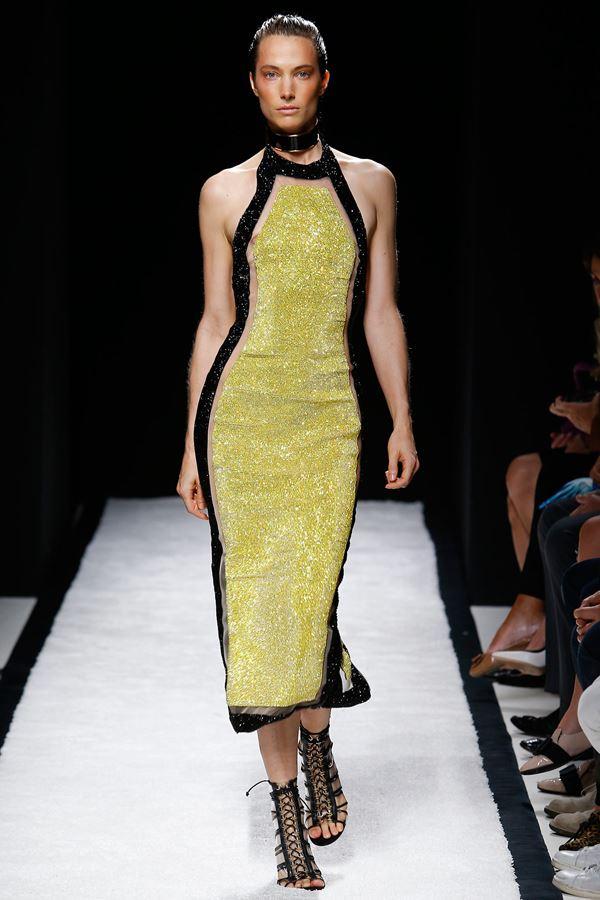 Balmain  желтое платье весна-лето 2015