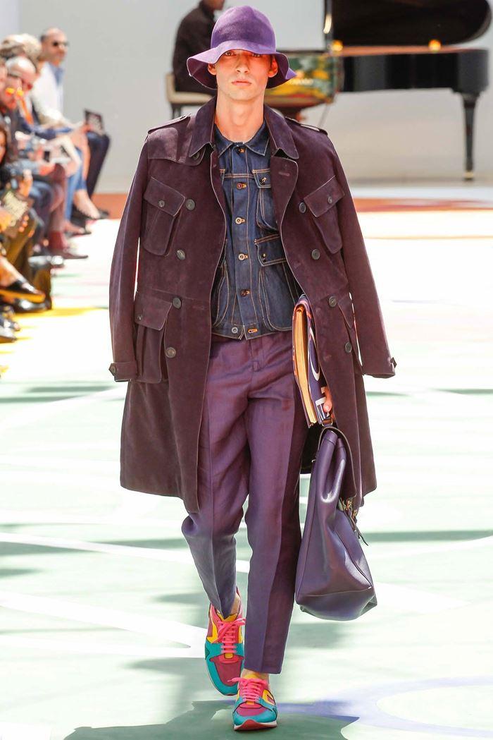 Burberry Prorsum длинное фиолетовое мужское пальто весна-лето 2015