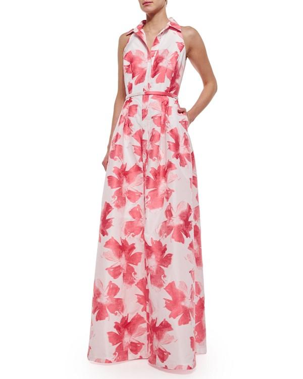 платье сарафан с цветочным принтом Carmen Marc Valvo