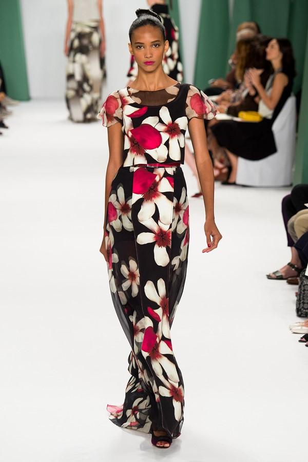 Платье с цветочным принтом 2015 Carolina herrera