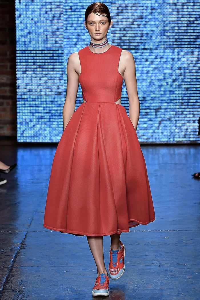 DKNY приталенное красное платье весна-лето 2015