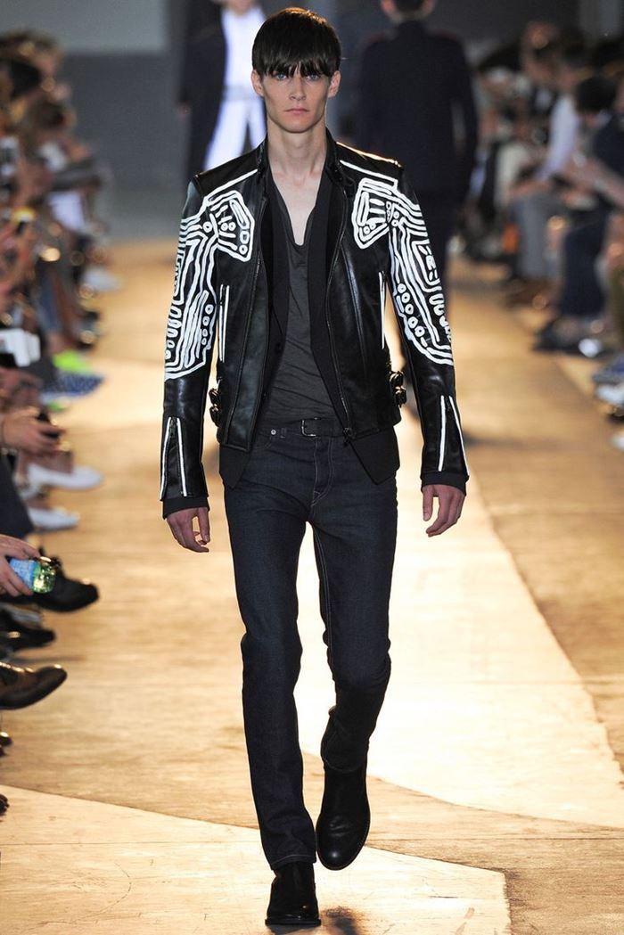 Diesel Black Gold черная мужская кожаная куртка весна-лето 2015