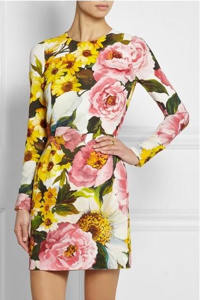 платье с цветочным принтом 2015 Dolce & Gabbana