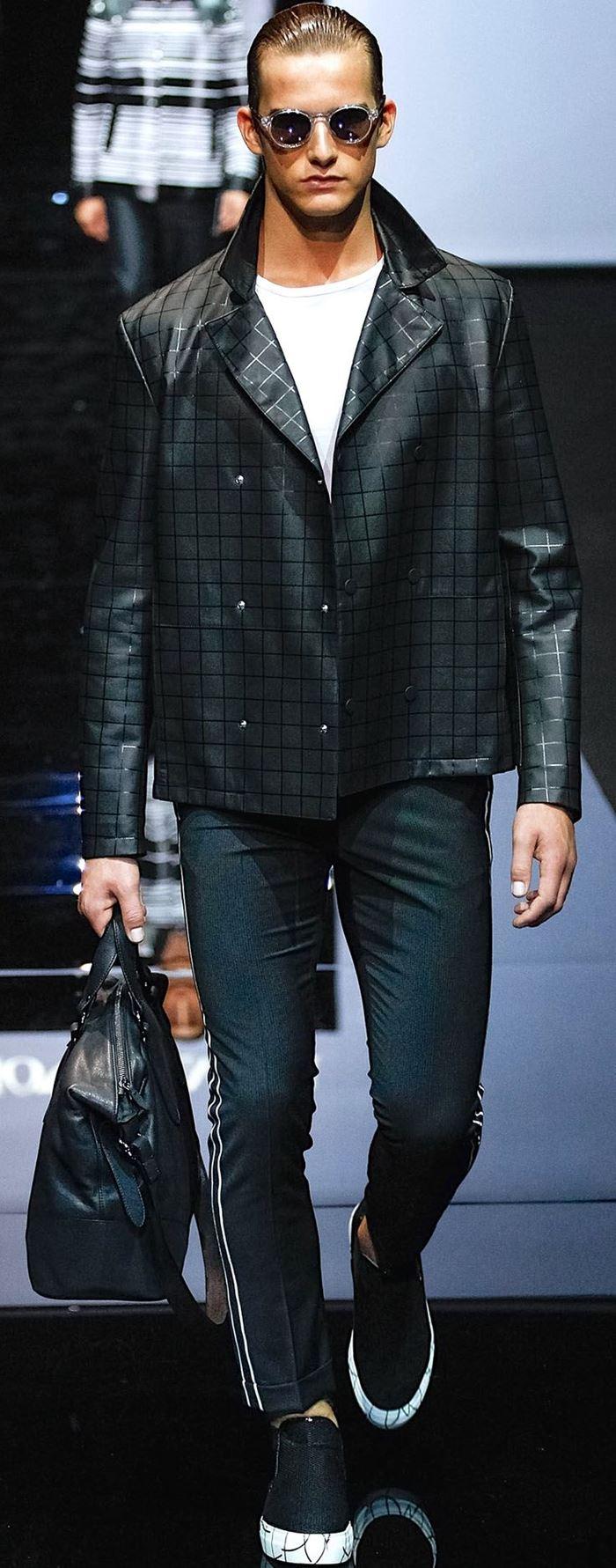 Emporio Armani двубортная клетчатая мужская кожаная куртка весна-лето 2015
