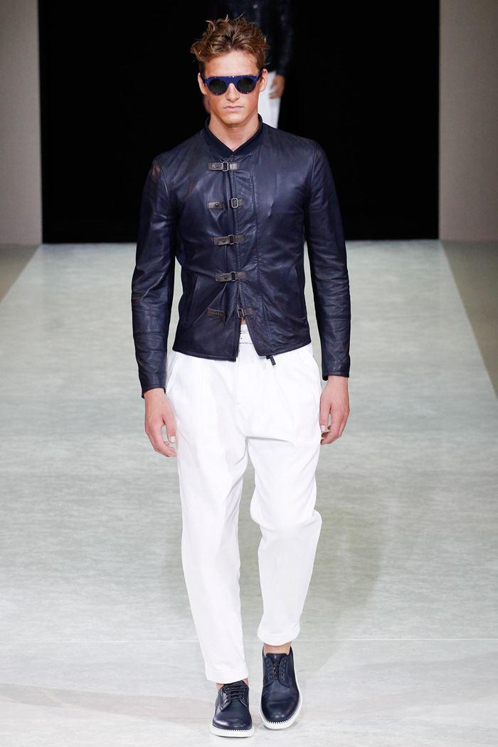 Giorgio Armani облегающая темно-синяя мужская кожаная куртка весна-лето 2015