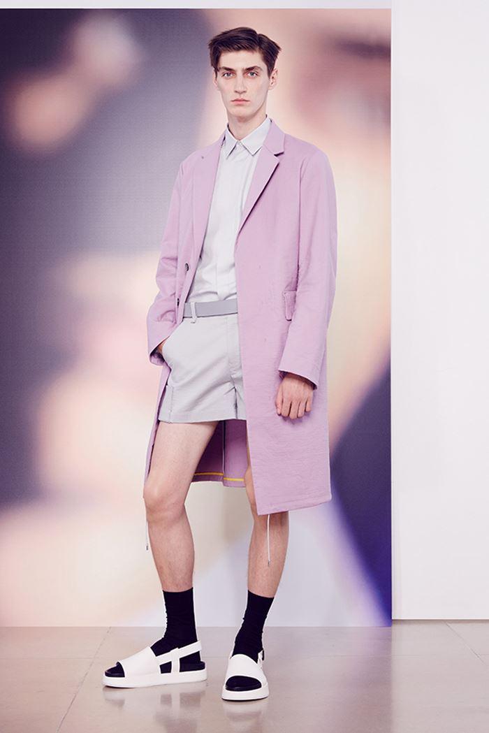 Jil Sander розовое мужское пальто весна-лето 2015