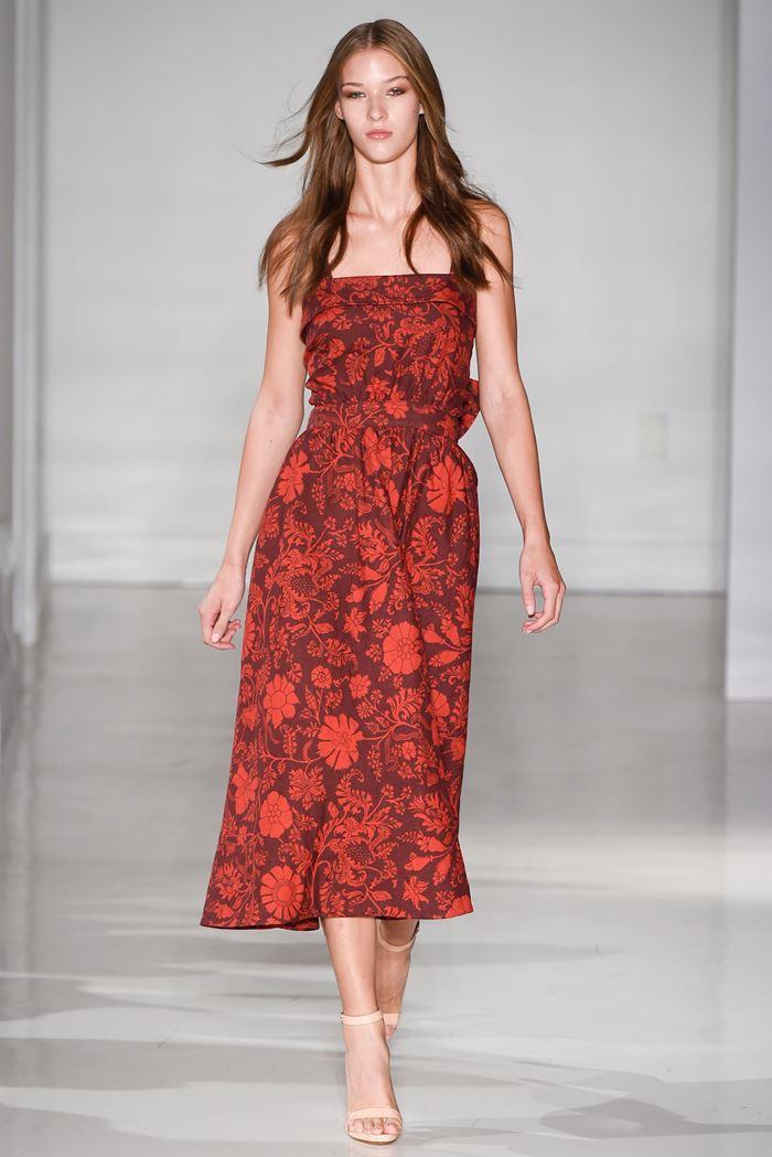Jill Stuart красное платье миди с цветочным рисунком весна-лето 2015