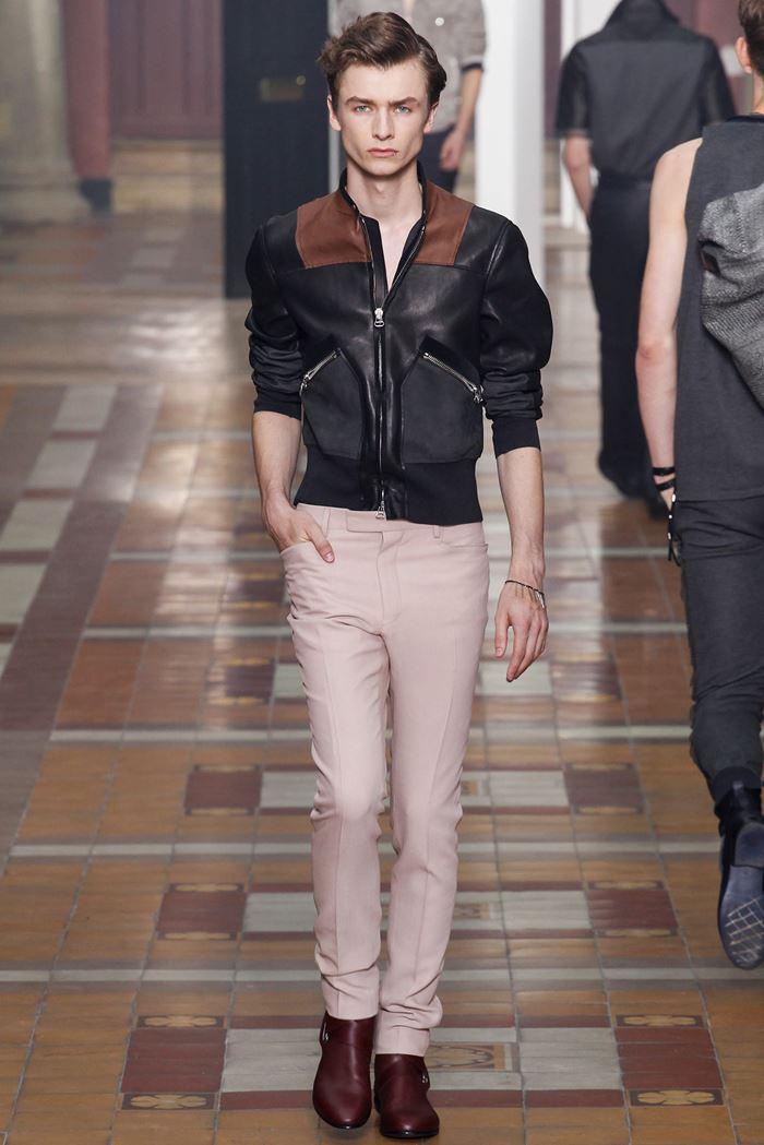 Lanvin прилегающая мужская кожаная куртка весна-лето 2015