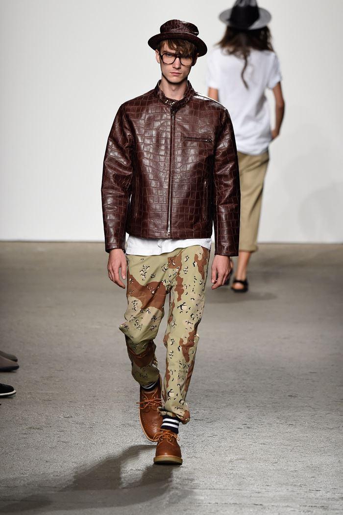 Mark McNairy New Amsterdam коричневая мужская кожаная куртка весна-лето 2015