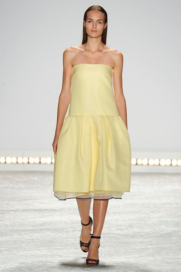 Monique Lhuillier желтое платье весна-лето 2015