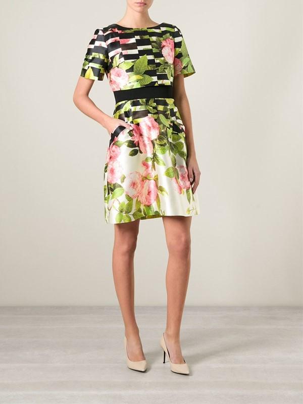 платье с цветочным принтом 2015 Oscar de la Renta