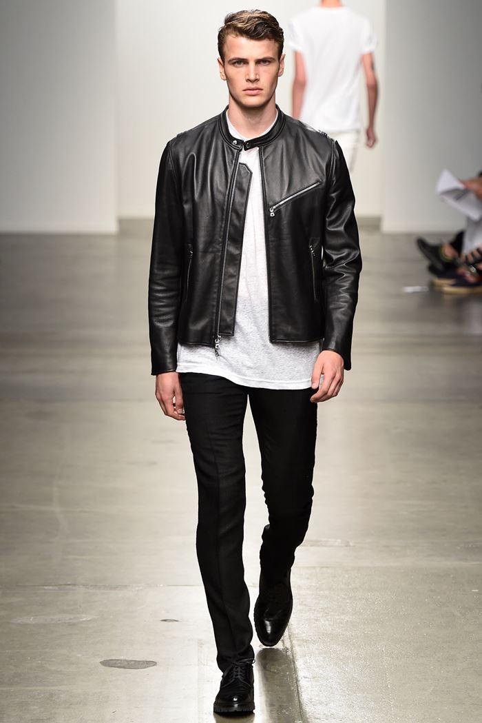 Ovadia & Sons черная мужская кожаная куртка весна-лето 2015