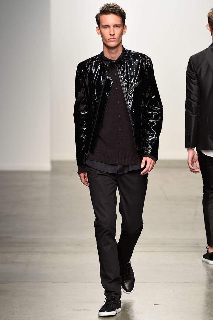 Ovadia & Sons черная мужская лакированная кожаная куртка весна-лето 2015
