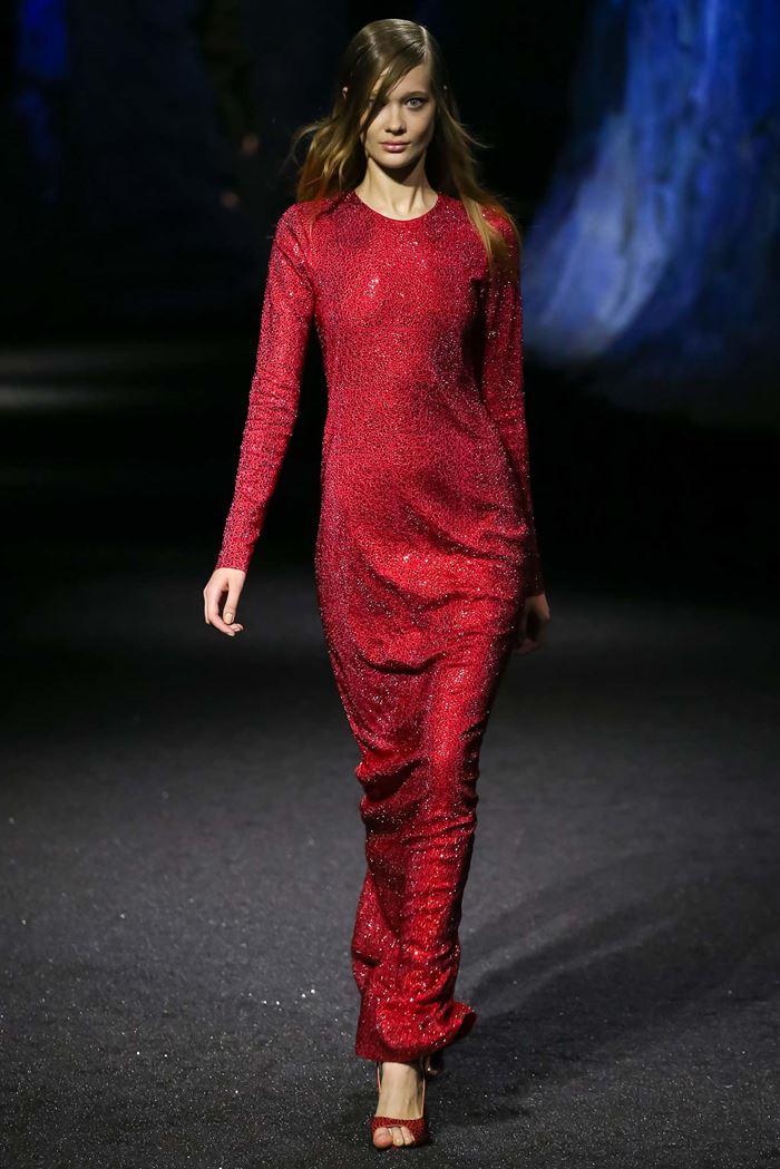 Philipp Plein расшитое вечернее красное платье весна-лето 2015