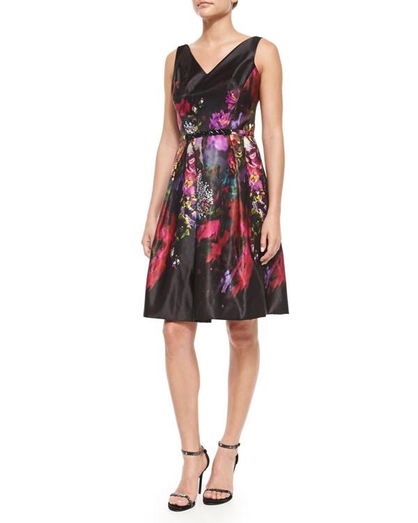 платье с цветочным принтом 2015 Rickie Freeman for Teri Jon