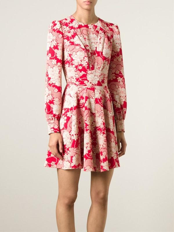 платье с цветочным принтом 2015 Saint laurent