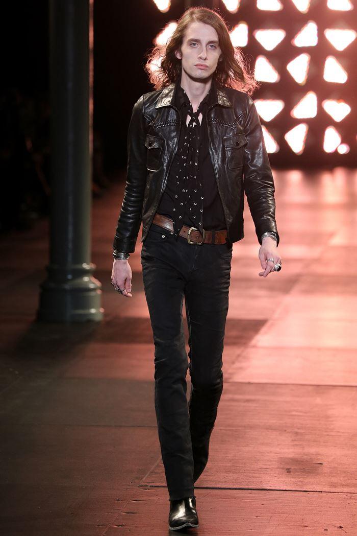 Saint Laurent черная мужская кожаная куртка весна-лето 2015