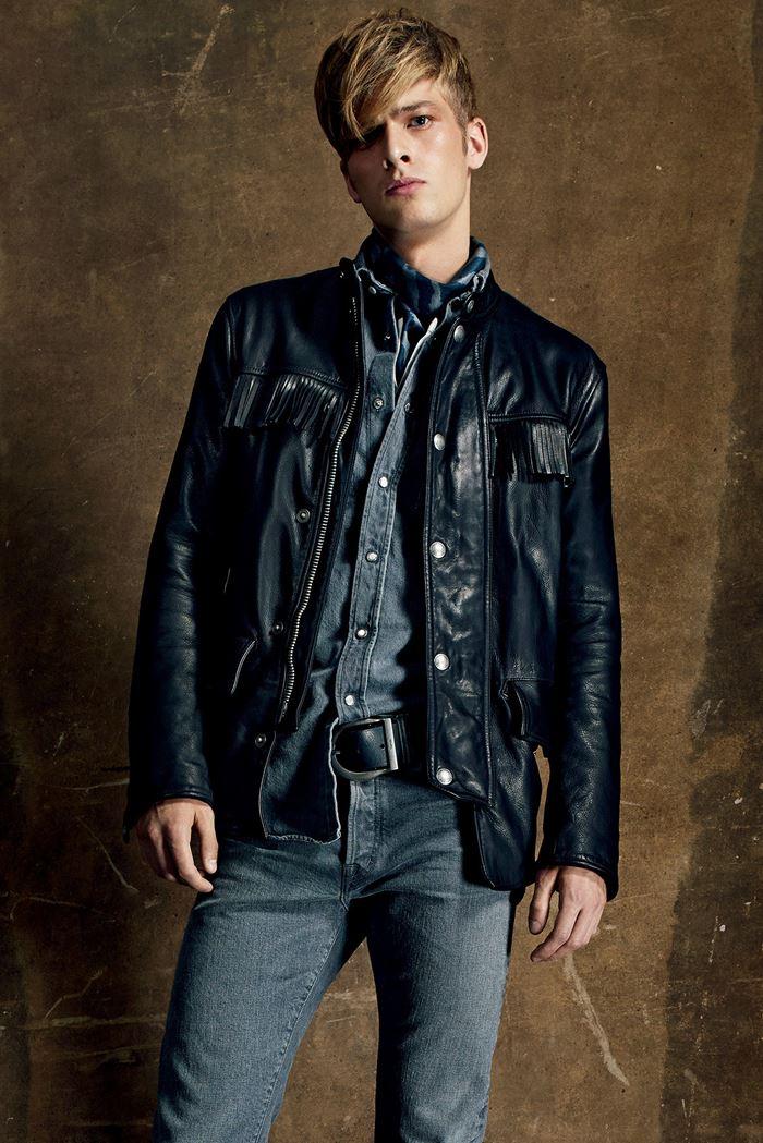Tom Ford черная мужская кожаная куртка весна-лето 2015