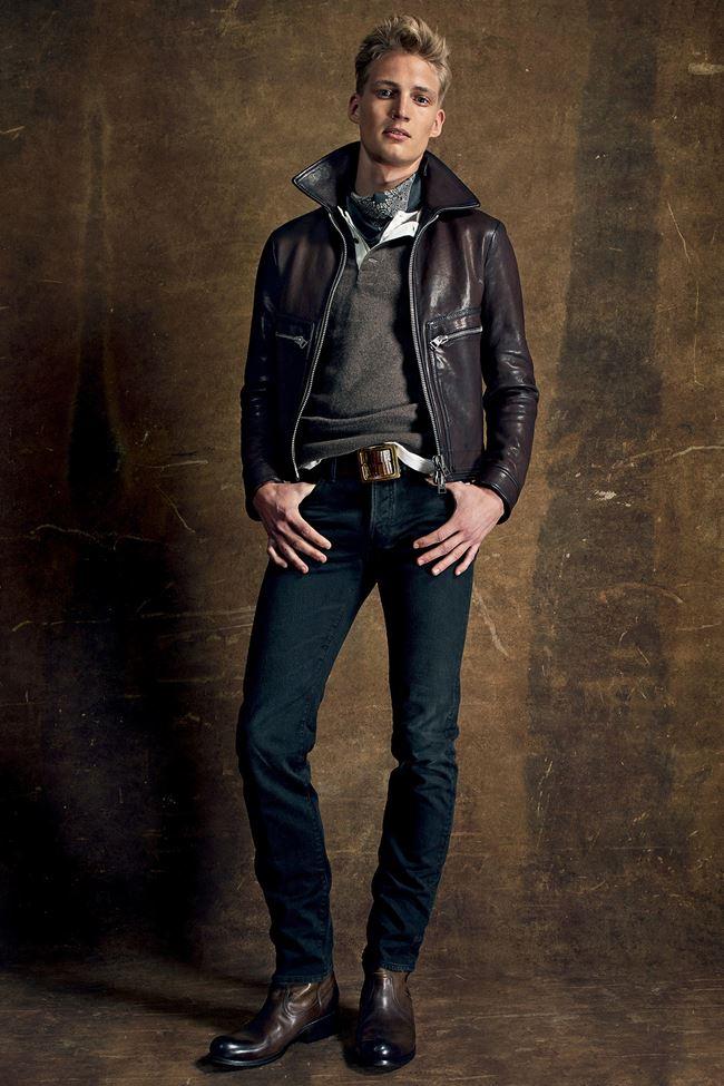 Tom Ford  коричневая кожаная мужская косуха весна-лето 2015