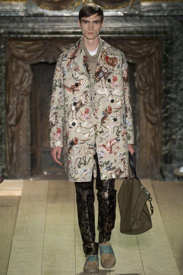 Valentino двубортное мужское пальто с принтом весна-лето 2015