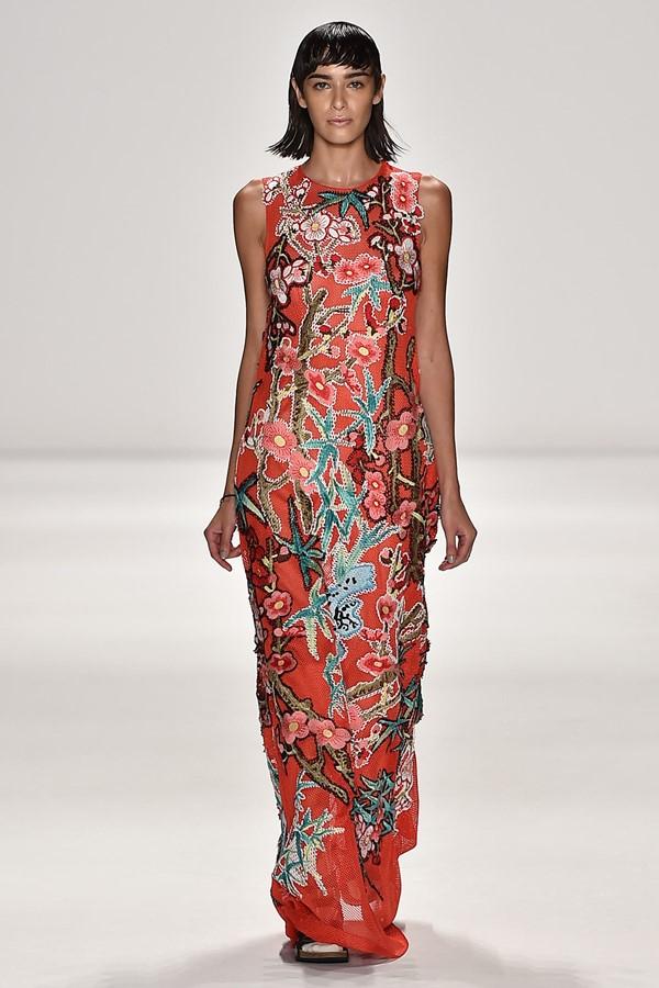 платье с цветочным принтом 2015 Vivienne Tam