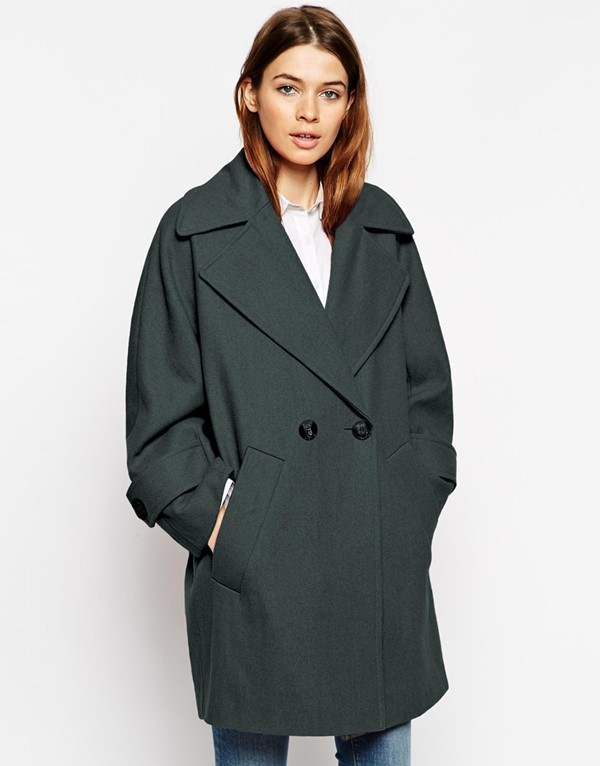 Asos темно-зеленое  пальто-бушлат 2015