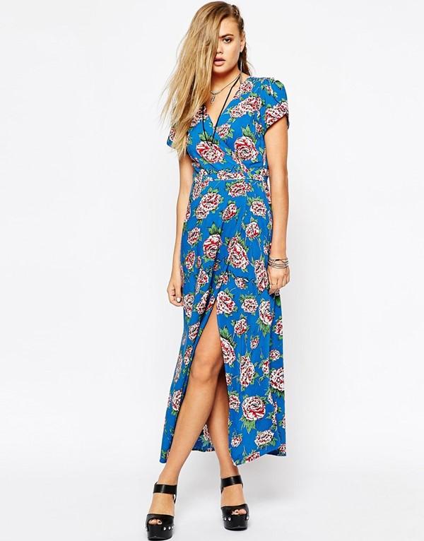 платье с запахом с цветочным принтом Asos