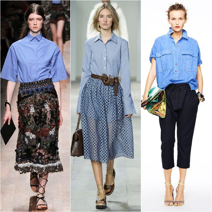 Голубые блузки и рубашки весна лето 2015